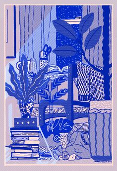 indigo bedroom #illustration #indigo
