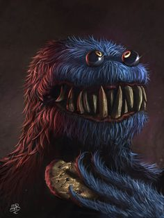 Link to the source: http://xxadrxx.tumblr.com/Author: Adrián Retana #illustration #horror #monster #cookie #eyes #teeth #terror