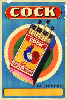 All sizes | Cock - Safety Matches | Flickr - Photo Sharing! #illustration #typography