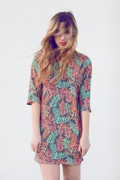Leafy Print Dress #dress #pattern #leaf