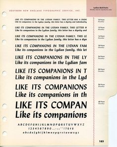 Lydian Bold Italic type specimen #type #specimen