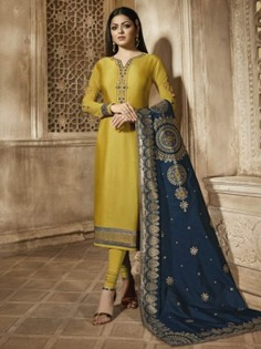 Bollywood Diva Drashti Dhami Style Yellow Satin Georgette Embroidered Straight Cut Suit - Inddus.