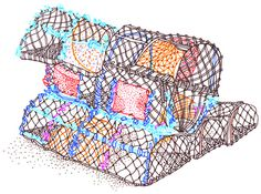 Sketch book : Travel illustrations on Behance, by rooftop illustrations Sketch book: lobster pots, St Ives #pots #food #fishermen #sea #lobster #fishing