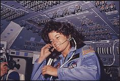All sizes | [Sally Ride] America\'s first woman astronaut communitcates with ground controllers from the flight deck during the six day miss
