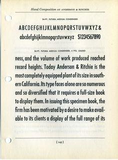 Futura Medium Condensed Type Specimen #type #specimen