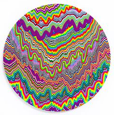 Jen stark psychedelic state #colourful #ripples #print #circle #spatter #colour #fluro #neon