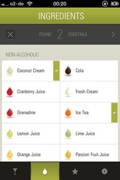 lovely ui (check marks on The Cocktail App) #ingredients #recipes #design #graphic #interface #ui #iphone #app #mobile #layout #cocktail