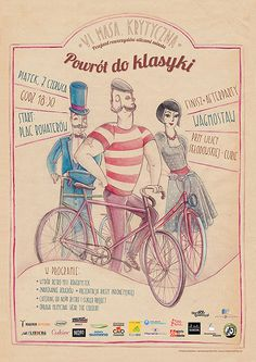 Zaczarowana Walizka #fixie #bicycle #fixed #critical #cyclist #classic #retro #mustache #gear #illustration #mass #bike #poster #watercolor