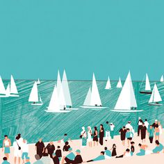 Rhona Garvin – Cowes Week #human #illustration #beach