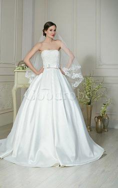Robe de mariée longue avec sans manches en satin ligne a avec nœud