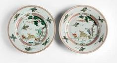 Pair of plates with 'Famille verte'decoration of crane and deer #Sets #Tea sets #Porcelain sets #Antique plates #Plates #Wall plates #Figures #Porcelain figurines #porcelain