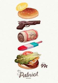 burger, gun, beer, the patriot #illustration #mid #vintage #poster #century
