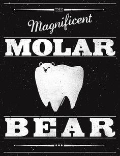 Molar Bear (Gentlemen's Edition) Art Print by Zach Terrell | Society6 #black #white #pun #poster