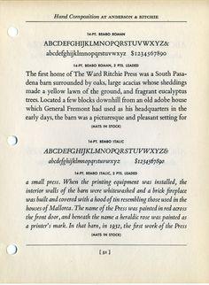 Bembo type specimen. #type #specimen #typography