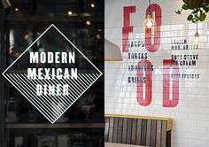 Environmental graphics designed by Buro Creative for UK Mexican dining concept DF / Mexico. Featured on bpando.org #tiles
