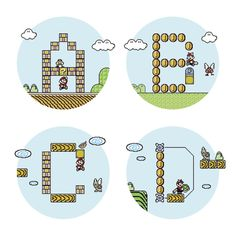 Super Mario Font 3 on Behance #font #nintendo #mario #bros #basile #8bit #typo #francesco