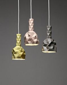 Faceture vases and lightshades by designer Phil Cuttance