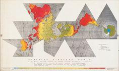 buckminster fuller, dymaxion world map #map #magazine #cartography #world #life #dymaxion #buckminster fuller #1943 #fuller