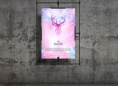 Concrete Wall Hanging Poster Mockup