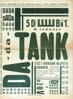 Freaky Fauna's Tumblr - Dada Tank, Zagreb 1922. Found here. #dada #old #typography #cover #vintage #dadaism #magazine #green