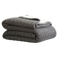 Cable Sherpa Knit Throw Charcoal 125cm x 150cm