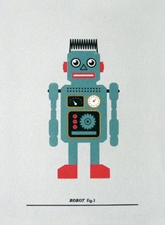 Made By Morris #printed #silkscreen #red #robot #silver #print #blue #hand