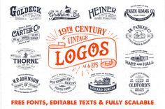 19th Century Vintage Logos - Logos - 1 #font #stamp #logos #premium #free #retro #insignia #vintage #kit #logo #pack #typography