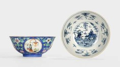 Pair of blue glazed bowls with Sgraffiato-ground and medallions, with antique #porcelain