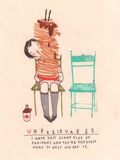 """this isn't happinessâ""""¢ photo caption contains external link #pancakes #chair #eat #loneliness #illustration"""