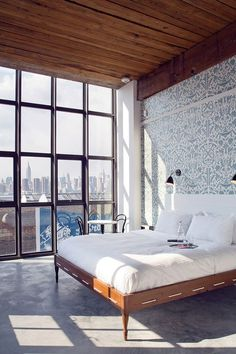 CJWHO ™ (Wythe Hotel room in Brooklyn) #white #room #design #bedroom #interiors #window #luxury #bed #york #brooklyn #new