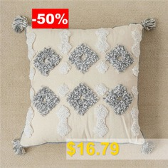 Ins #Moroccan #Style #Cushion #Cover #Geometric #Tufted #Cotton #Embroidered #Pillowcase