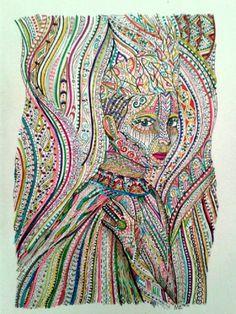 Tilda Swinton by Nadja Christin #drawing #illustration #portrait #tildaswinton #actress #colors #colorful