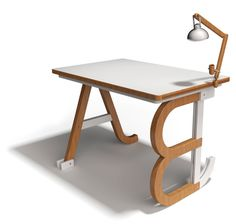 Persona Desk on the Behance Network #lettering #design #wood #furniture #desk #type
