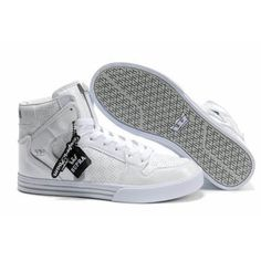 Leather Supra Vaider TUF Men Skate Shoes with All White #shoes