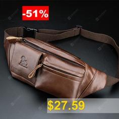 LAOSHIZILUOSEN #Leather #Waist #Bag #Men'S #Head #Leather #Fashion #Retro #Chest #Bag #- #BROWN
