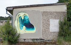 Holes in the wall by 1010 #graffiti #geometry #painting #fine art #layers