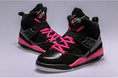 Michael Air Jordan Flight 45 High GS Black Vivid Pink Women Nike Shoes #shoes