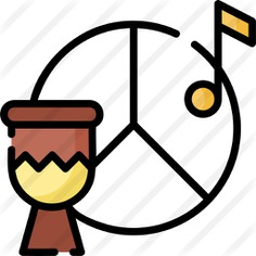 See more icon inspiration related to peace symbol, shapes and symbols, music and multimedia, reggae, rythm, percussion instrument, musical instrument, percussion, orchestra, drum and music on Flaticon.