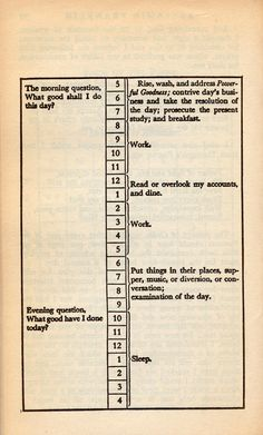 Benjamin Franklin's daily schedule #page #typography #design #book #schedule #day #work