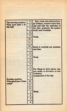 Benjamin Franklin's daily schedule #page #typography #design #book #schedule #day #work
