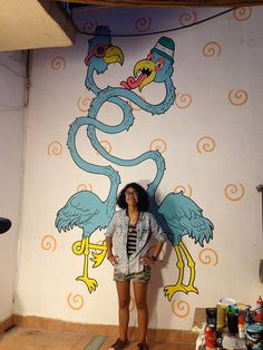 """""""Mural Flamingows"""" by Molly Yllom #illustration #character #design #mural #painting"""