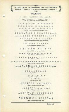 Monotype Accents type specimen #type #specimen #typography