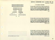 Linotype Gothic Condensed No. 18 and 20 type specimen #type #specimen #typography