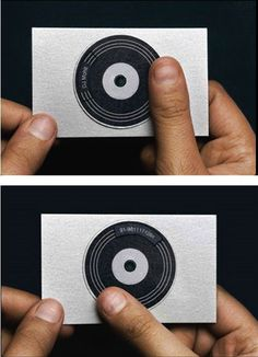 spinnable record DJ business card