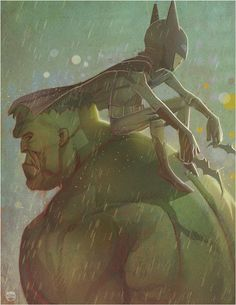 I Gotcha Covered by CoranKizerStone #hulk #dc #batman #comic #duo #illustration #rain #marvel
