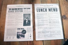 News Room #print design #black and white #newspaper #newsprint #restaurant #broadsheet #columns #edinburgh #headline #satire #article #menu