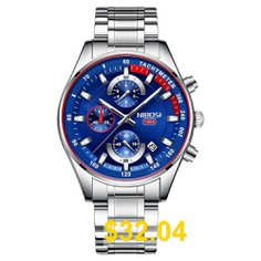 NIBOSI #2375 #Watch #Men #Fashion #Sport #Quartz #Mens #Watches # #Chronograph #Watch #- #BLUE #GRAY