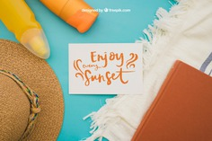 Summer decoration with paper Free Psd. See more inspiration related to Mockup, Card, Summer, Template, Paper, Beach, Sea, Sun, Holiday, Mock up, Decoration, Hat, Pineapple, Decorative, Vacation, Templates, Cream, Summer beach, Sunshine, Aloha, Up, Towel, Season, Holiday card, Postal, Composition, Mock, Summertime and Seasonal on Freepik.