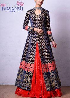 Vasansi Blue Velvet Indo Western