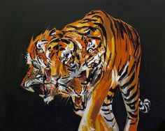 Tigers in the Night by Erik Olson #painting #tiger